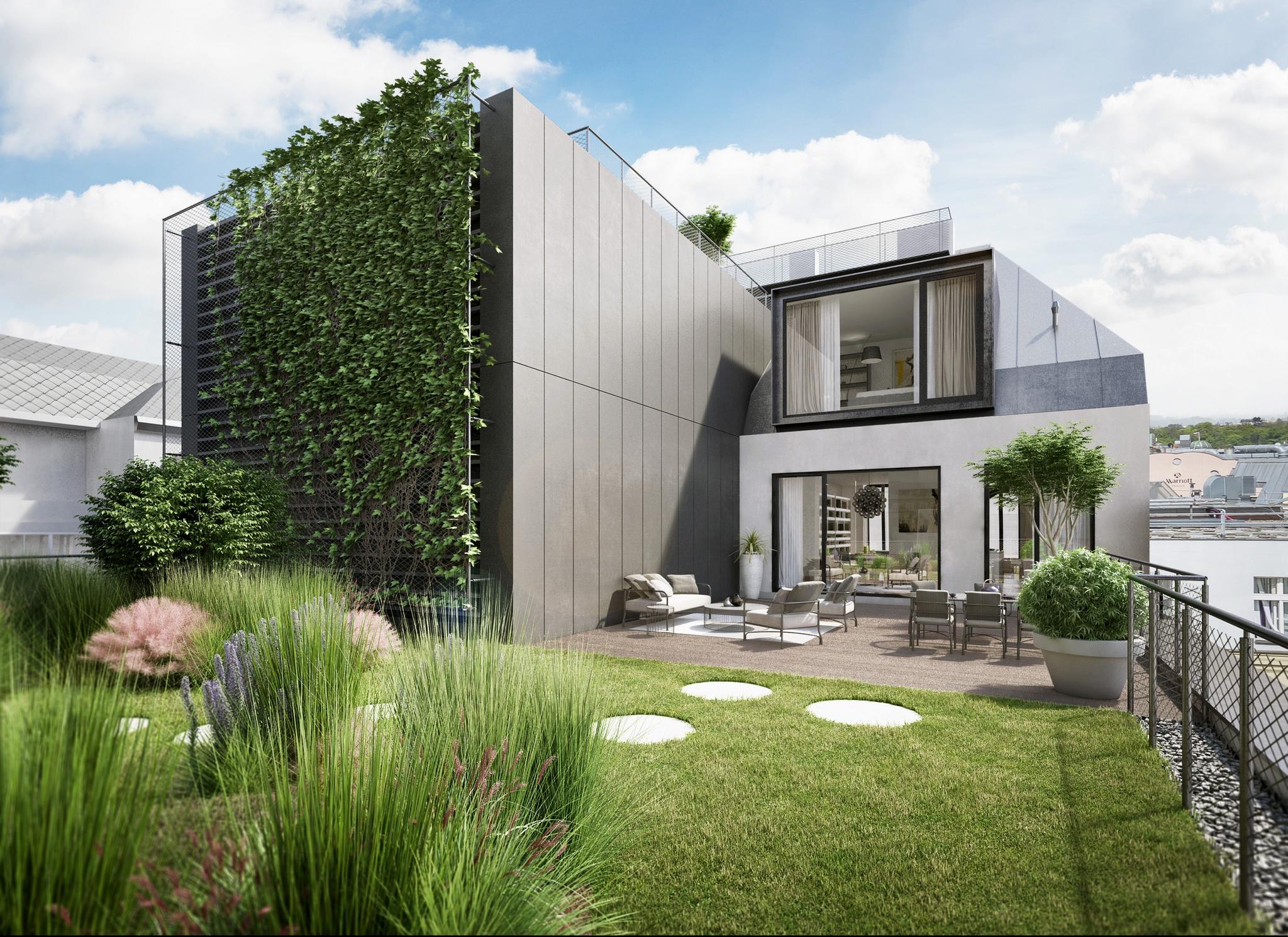 Střešní terasa k bytu - vizualizace